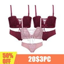 e27110a31 3 peça Sexy Roupa Interior das mulheres Japonês super Sexy push up bra  vermelho e rosa Princesa cintas cinto sutiã de renda das .