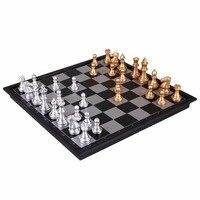 LEJIAER 8 Pouce International Pliable Magnétique Mini Conseil D'or Argent Échecs Dames Jeu De Backgammon Table Jeux Drôle Jouet