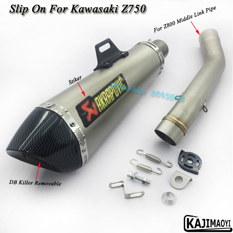 Ninja800/750 Motorcycle Full System Exhaust Pipe Escape Modified Muffler Middle Link Pipe With Sticker For KAWASAKI Z800 Z750