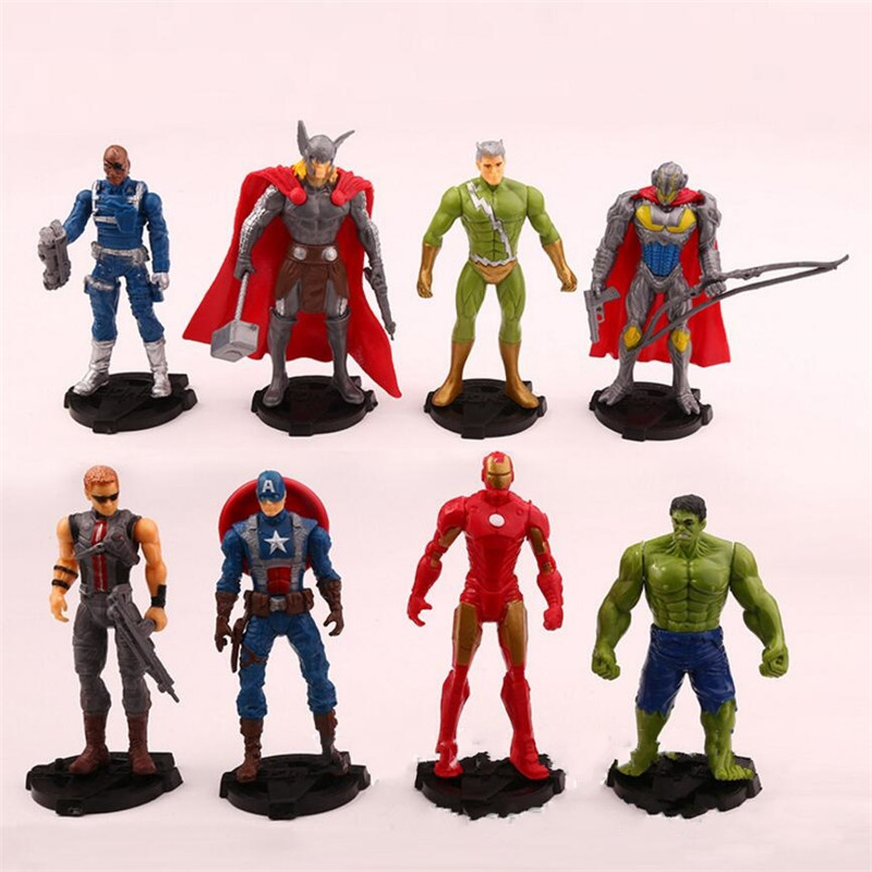8Pcs /lot 11 cm New Avengers 3 Infinity War Action Figures Model Super Hero Spiderman Captain America Hulk Figure Hot