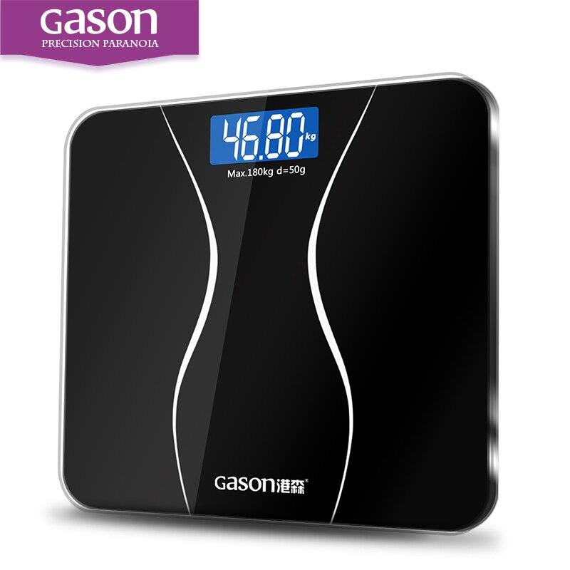 GASON A2 Bagno Corpo Scale di Vetro Intelligente Delle Famiglie Elettronico Piano Digitale del Peso di Equilibrio Bariatrica Display LCD 180 KG/50G