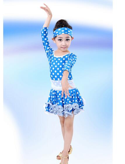 1set/lot free shipping Winter Autumn Girl's Children Performance Stage Long Sleeve Dot Polka Latin Ballet Dance  Dancewear Dress