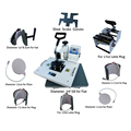 Multifunctional digital 9 in 1 combo heat press machine for printing T-shirt/Mug/Cup/Plate/Hat/Flat/Shoes/Sock/ Glove