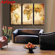 Buy world map canvas yellow and get free shipping on aliexpress atfipan 3 pcsset classic world maps wall art prints canvas gumiabroncs Image collections