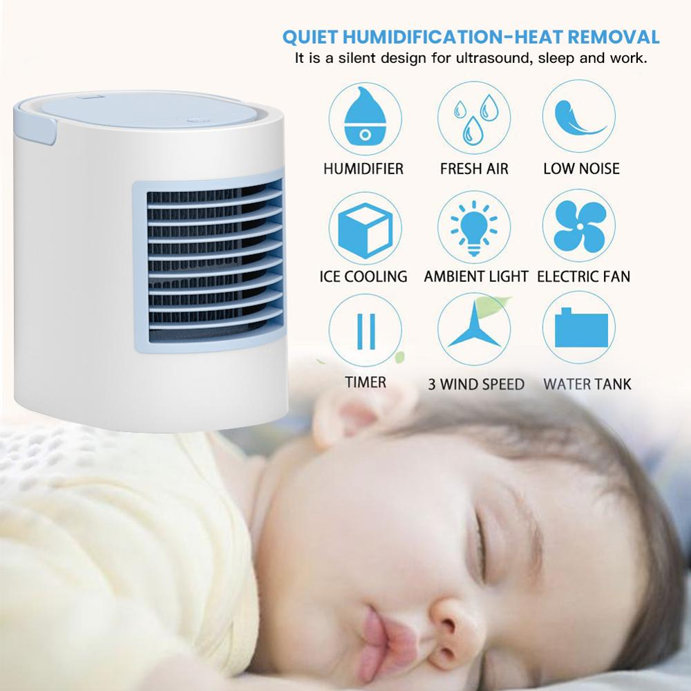 Home Desktop Multi-function Cooling Fan Effective Cooling 5-7 �C USB DC LED Tri-color Conversion Humidifier Small Fan