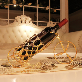 gold plated fashion theroom wheels iron theroom wine rack home decoration