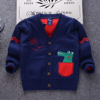 QAZIQILAND 2018 Fasion Dinosaur Pattern Casual Style Autumn Winter Knitted Boys Sweaters for Hot Students 2T 7T Cotton Clothes in Sweaters from Mother Kids
