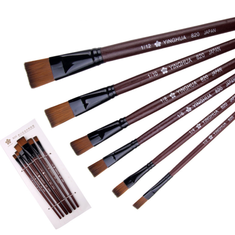 6 Pcs Art Supplies Painting Easy To Clean Wooden Handle Watercolor Paint Brush Pen Nylon Hair Learning Oil Acrylic