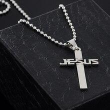 Nuovo di modo GESÙ croce catena pendente collane di perline per le donne degli uomini collana in acciaio inossidabile monili X 897