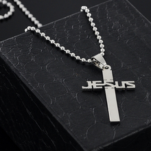 new fashion JESUS cross pendant necklaces bead chain for men women stainless steel necklace jewelry  X 897