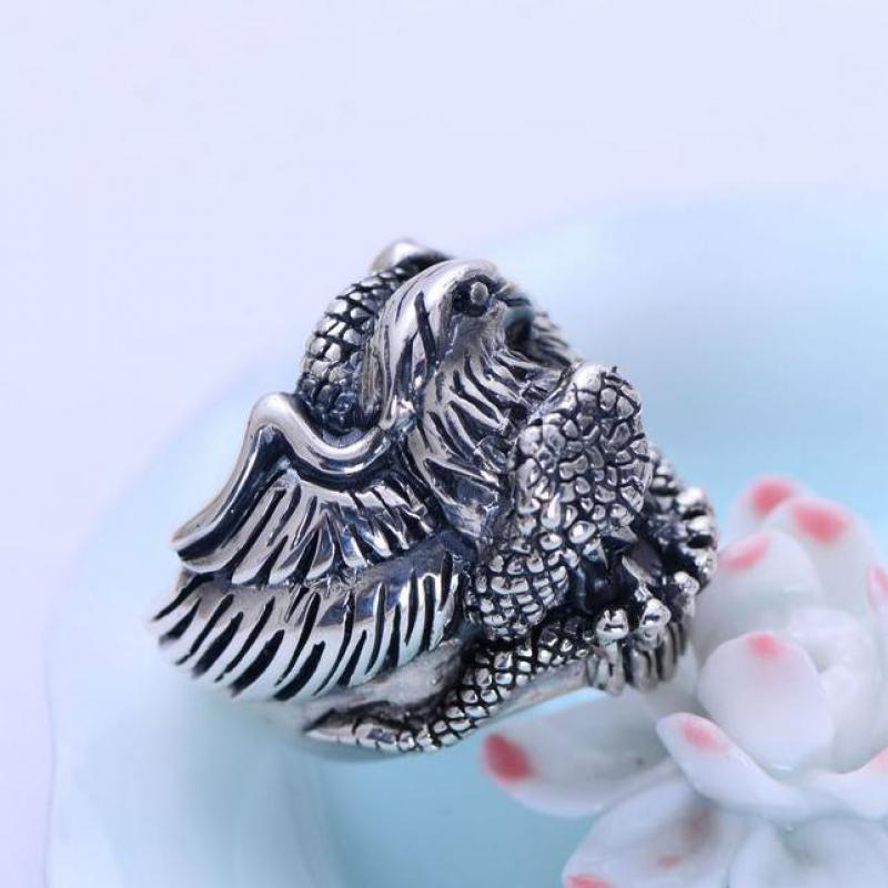 925 Sterling Silber Vintage Ring Biker Adler Schlange Schlacht