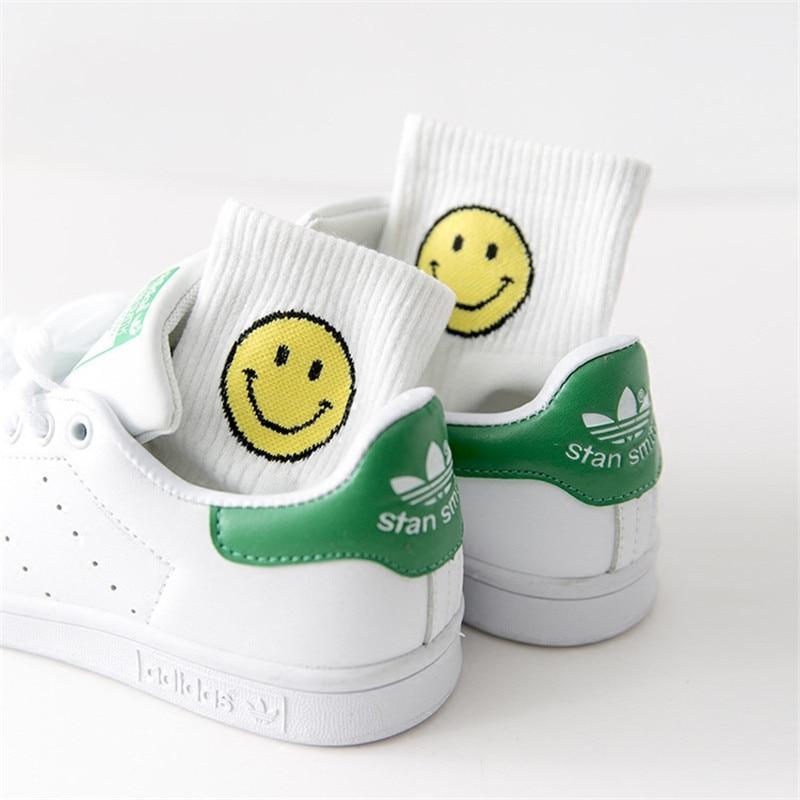 2020 Summer New Cotton Women Socks Smile Print Stripes Funny Sock Unisex Harajuku Female Casual Cute Socks Woman Sox Meias