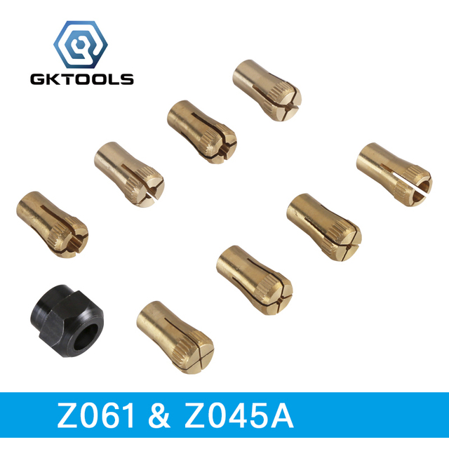 GKTOOLS, 9 Pieces/lot, including 8 Pieces of Mini Chuck /Small Collet and 1 Piece of Fixed Copper Cap, Z061 & Z045Asmall colletsmini chuckcopper chuck