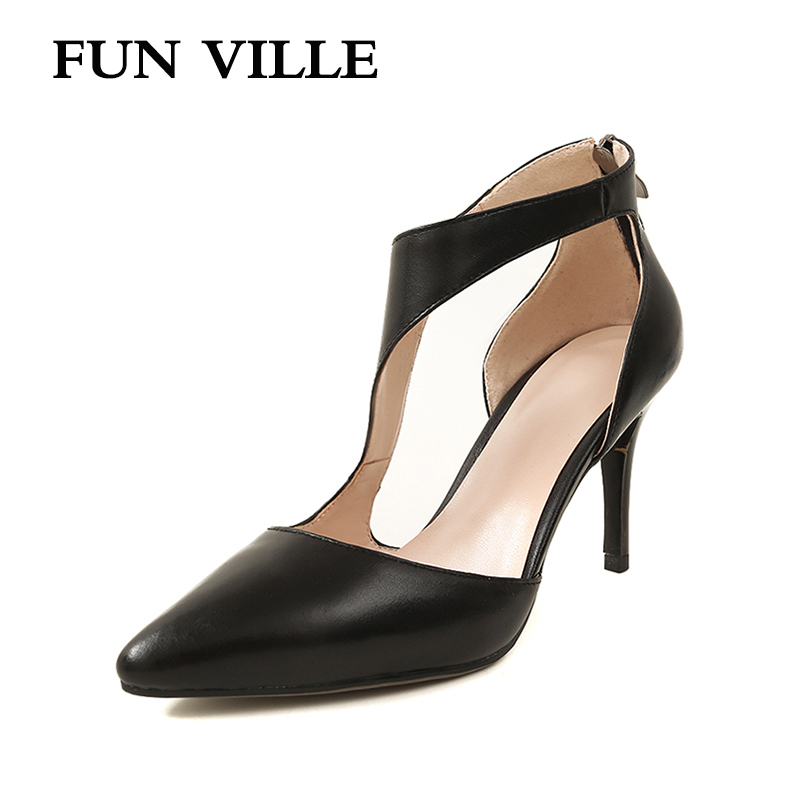 FUN VILLE 2018 spring New Fashion women pumps Genuine Leather High heel Sexy Women wedding party shoes Ladies shoes Size 34-43 aiyuqi 2018 spring new women s genuine leather shoes waterproof platform sexy plus size 41 42 43 fashion heel shoes female