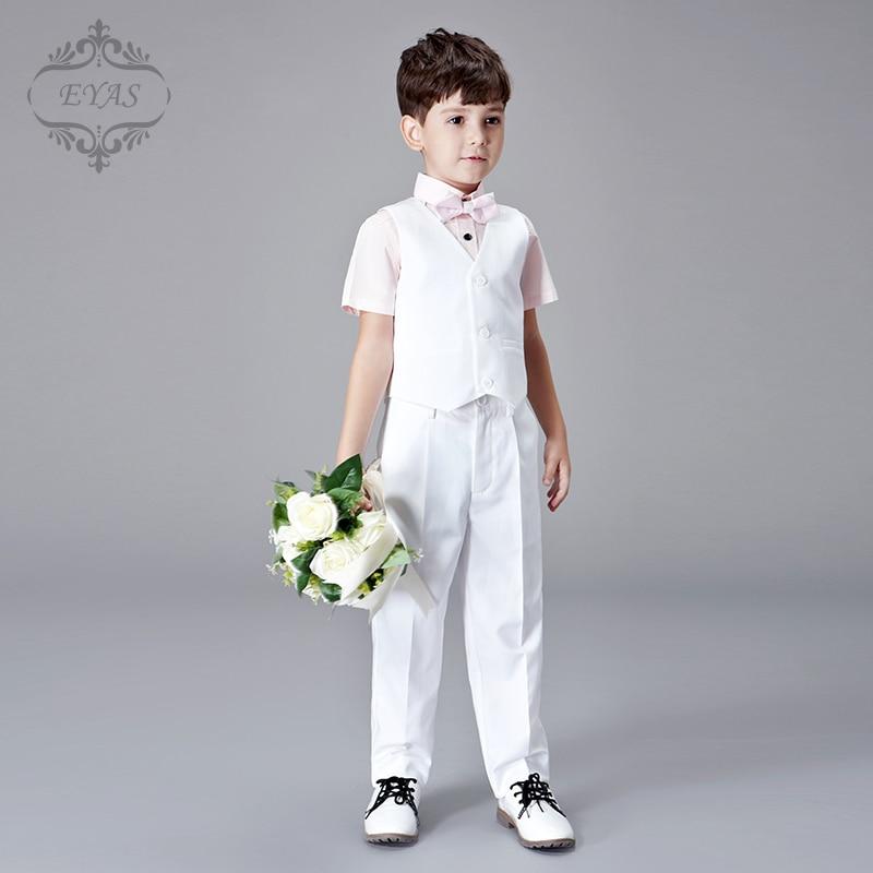 2016 Eyas Boys Clothes Summer Short Sleeve 100% Cotton Pink Shirt White Vest Wedding Ring Bearer Bowtie Formal Suit Set K6227