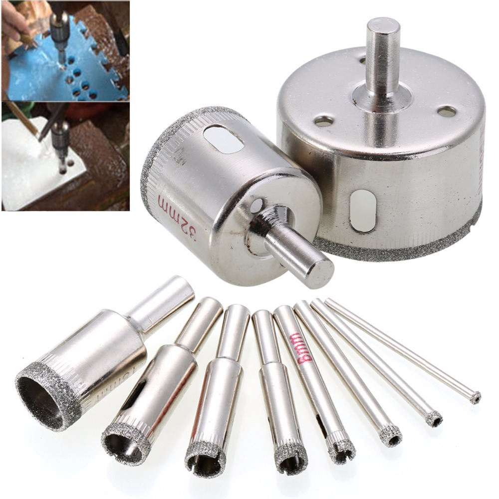 10pcs/set Diamond Tool Drill Bit Hole Saw For Glass Ceramic Marble Tile 3-50mm Power Tool 10pcs diamond holesaw set 8 50mm drill bit hole saw cutter for tile glass marble ceramic