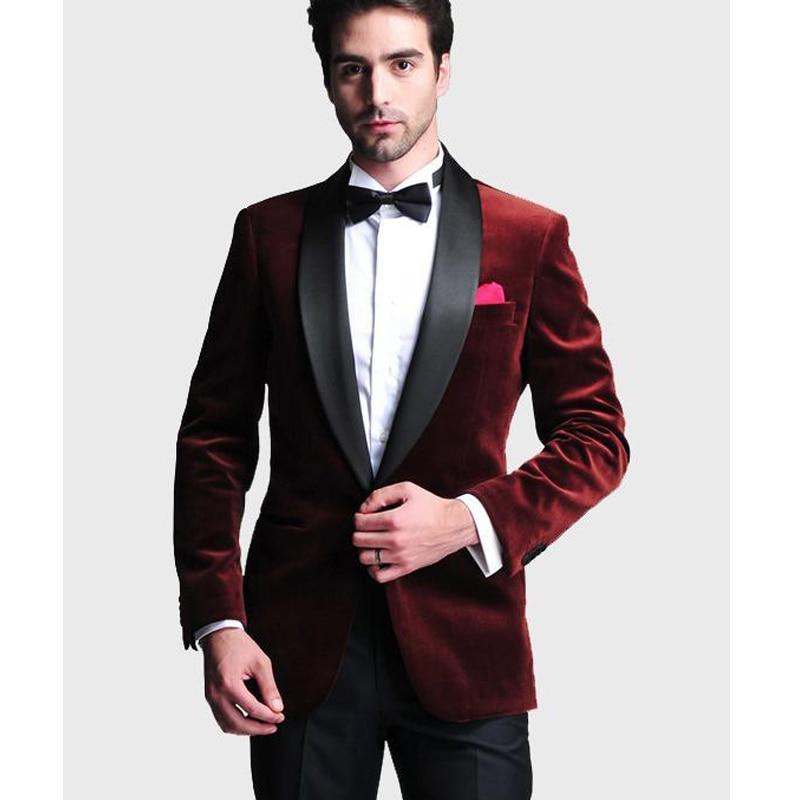 Burgundy Velvet Wedding Groom Tuxedos For Slim Fit Men Black Shawl Lapel Business Party Men Suits ( Jacket + Pants )