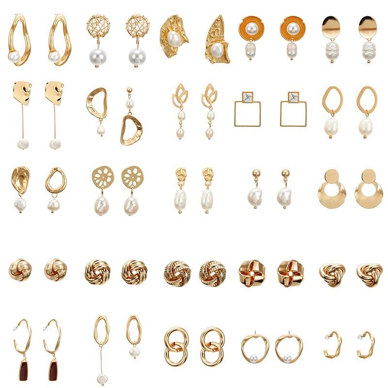 Stud-Earrings Square Gold-Geometric Metal Natural-Freshwater-Pearl Korea-Design Women