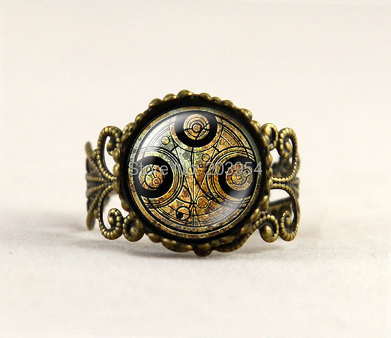 uk drama movie dr who ring 1pcs doctor who bronw line jewelry brass men women rings - Steampunk Wedding Rings