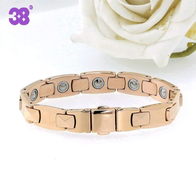High Quality Rose Gold Color Tungsten Steel Bracelets For Men Pure Germanium Magnet Therapy Health Benefits