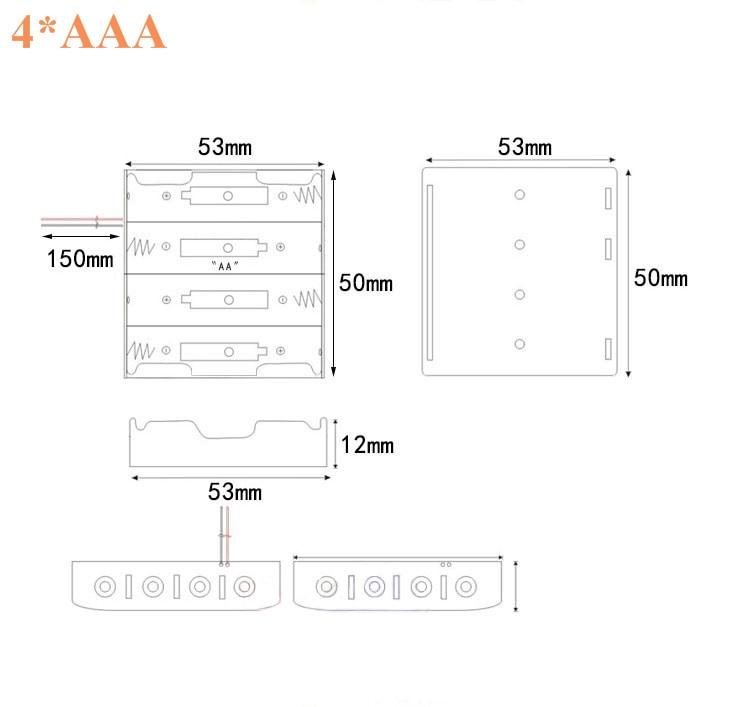2xAAA 3xAAA 4xAAA 1.5V Plastic Black Spring Battery Storage Case Box Battery Holder Plastic Contain (2)
