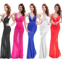 Maxi Dresses V Sparkly Shiny Sequin Beaded Fish tail Evening Party Women Long Prom Gown Dress Blue White Plus Size