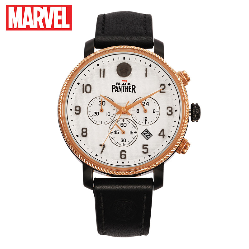 Disney's official Genuine Marvel BLACK PANTHER men quartz Watches 50m waterproof calendar leather japan quartz movement M 9037