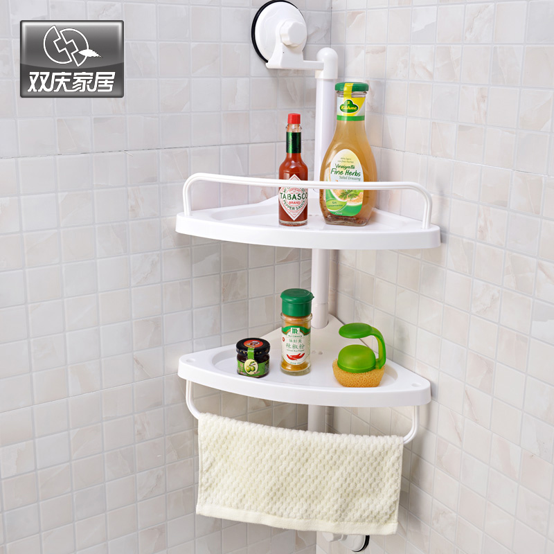 Wall Mounted Kitchen Spice Organizer Shelf Rack Suction Cup Rack Scuker Cup Spice Storage Rack Shelving Wall Bathroom Shelves