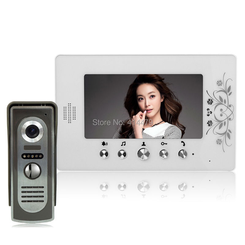 7 inch LCD Color Video door phone Intercom System Night Vision Doorbell 700TVL IR Camera Home Security tmezon 4 inch tft color monitor 1200tvl camera video door phone intercom security speaker system waterproof ir night vision 4v1