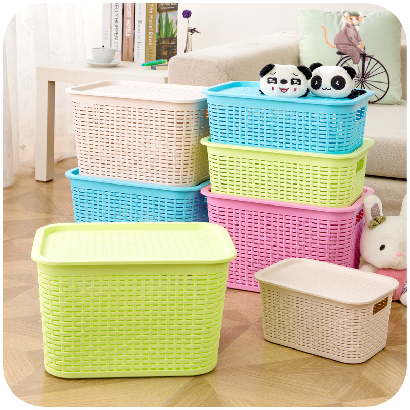 Rattan debris storage box glove box, desktop stackable storage basket