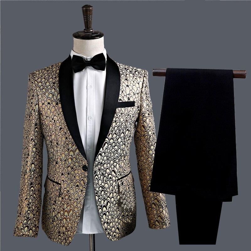 Men Clothes 2019 Golden Feather Jacquard Suit Men's Suit Stage Show Slim Straight Hip Hop Fit Suit Men Blazers