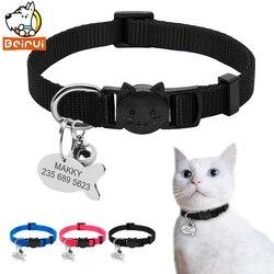 Нейлоновый быстроразъемный ошейник для кошек, набор персонализированных ошейников для собак, кошек, удостоверений личности, индивидуальны...