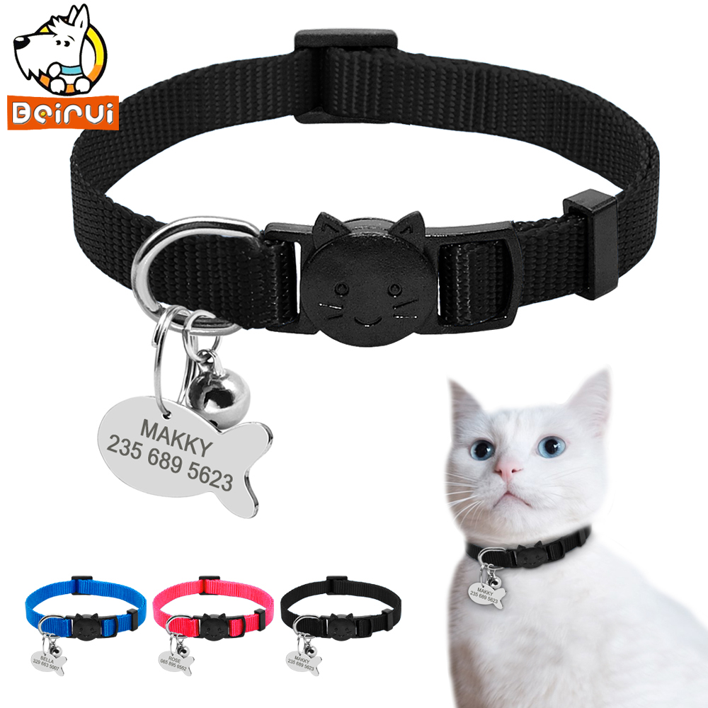 Nylon Quick Release Cat Puppy Tag Collar Set Dog Collars with Personalized and Customised Tags Free Engraved For Small Pets