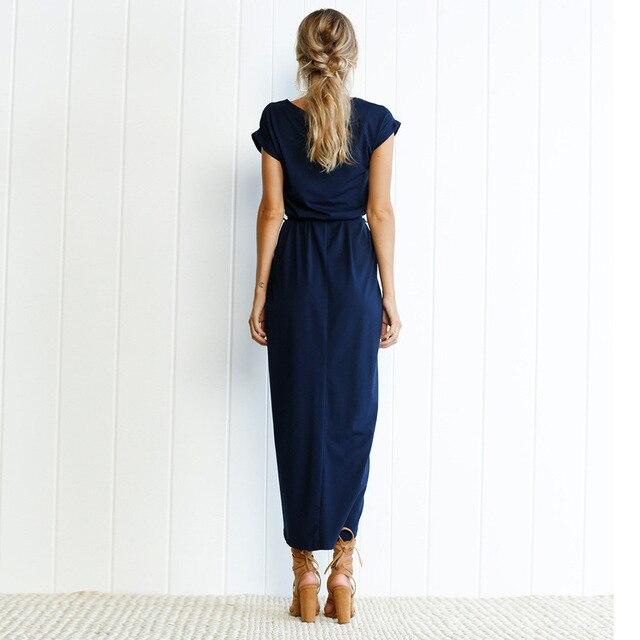 Solid Slit O-Neck Maxi Dress with Belt