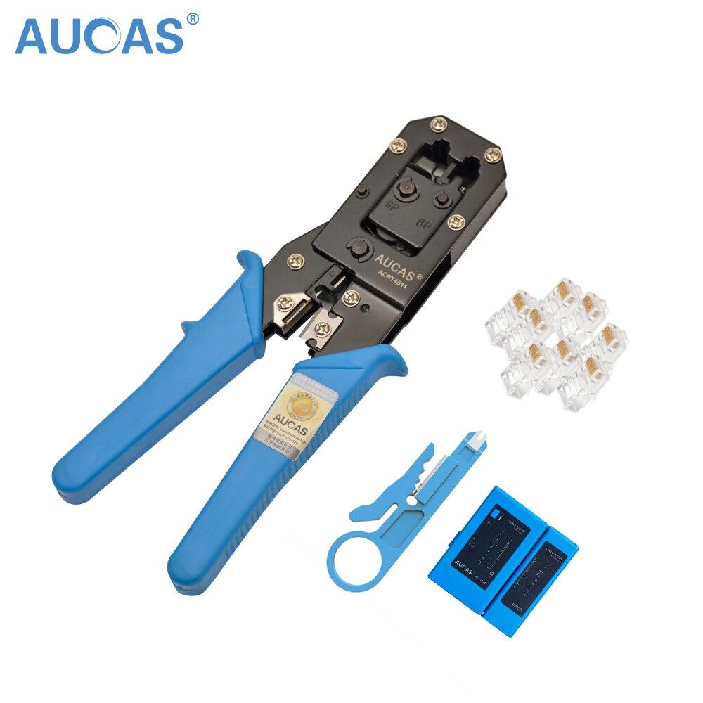 AUCAS multifunción Cable Crimper RJ11 RJ45 alambre Cat5 Cat6 engarzado herramienta de corte herramientas de red con Cable Tester