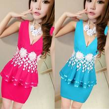 Women's sexy nightclub Slim package hip tight low-cut sleeveless dress Appliques thin beaded Slim mini office vestidos(China)