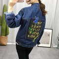 Women cotton denim coat new 2016 casual fashion loose jacket jeans coats ladies spliced sequined pockets plus size big ML
