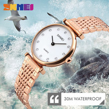 цена на SKMEI Fashion Quartz Watches Women Luxury Rhinestones Shell Dial 30M Waterproof Rose Gold Silver Ladies Wristwatches 1223