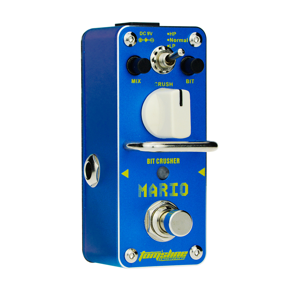 Aroma Mario Bit Crusher Guitar Effect Pedal AMO-3 Mini Analogue True Bypass Exquisite Mix Knob Crush Knob Accurate Durable amo 3 mario bit crusher electric guitar effect pedal aroma mini digital pedals full metal shell with true bypass