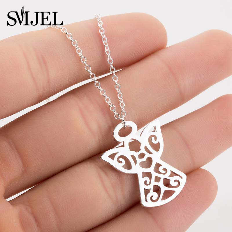 SMJEL Women Angel Necklaces Gold Color Minimalist Guardian Little Fairy Angel Medallion Pendant Necklaces Jewelry bijoux Origami