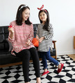 2017 NEW family shirt  for mother and daughter striped matching clothes family look mommy and me outfits clothing girl shirt