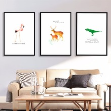 Dinosaur And Animals Watercolor Canvas Art Print Painting Poster Wall Pictures For Kids Room Home Decorative Wall Decor No Frame светодиодный спот lucide conni led 05913 05 36
