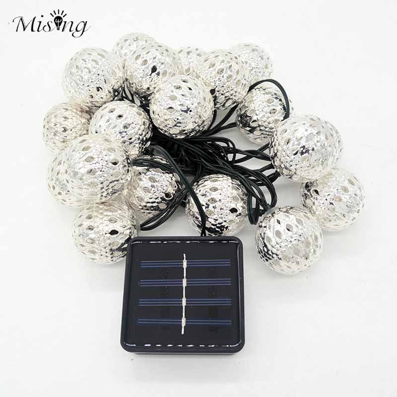 Mising SSL-12 4.8M 20 LED Bulb Solar Light String Morocco Ball Iron Silver Ball Lights Outdoor Christma Holiday Decorative Lamp