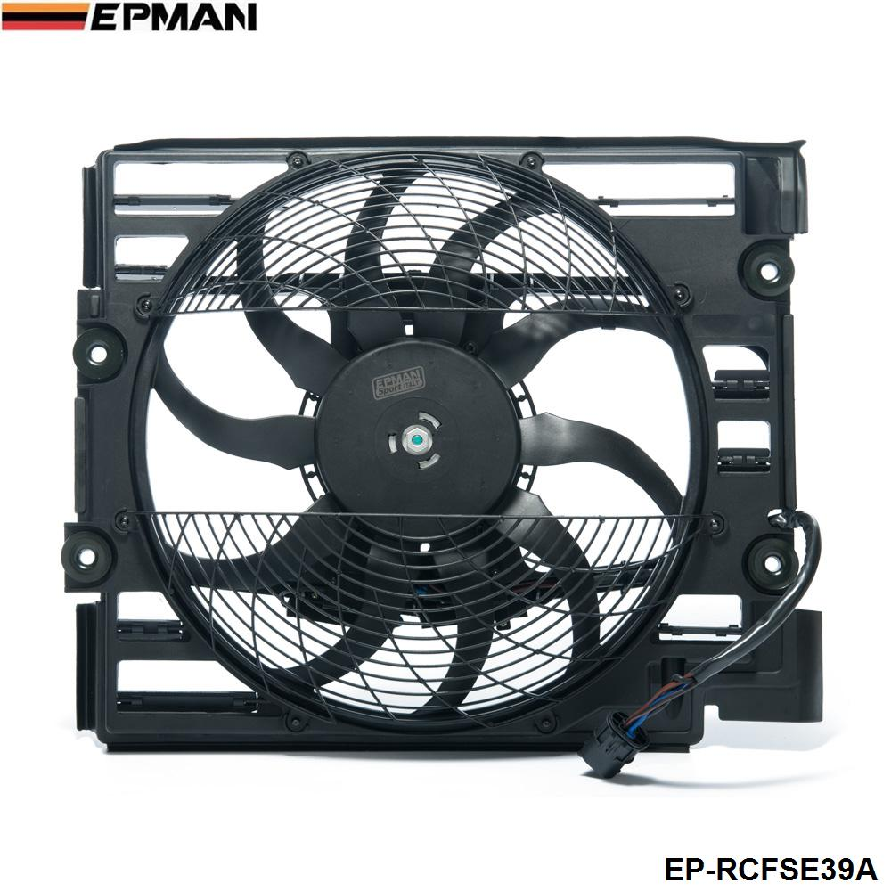 EPMAN - For BMW 5 Series E39 528 540 I 97 98 A/C Ac Radiator Condenser Cooling Fan 64548380780 EP-RCFSE39A epman 2 5 3 63mm 76mm 4 ply silicone 90 degree elbow reducer hose black for bmw e39 android ep ss90r6376