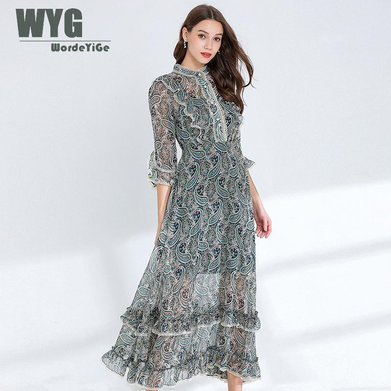 Bohemian Style Retro Dress 2019 Summer Three Quarter Sleeve Ruffles Ladies Elegant Romantic Long Dresses For Women