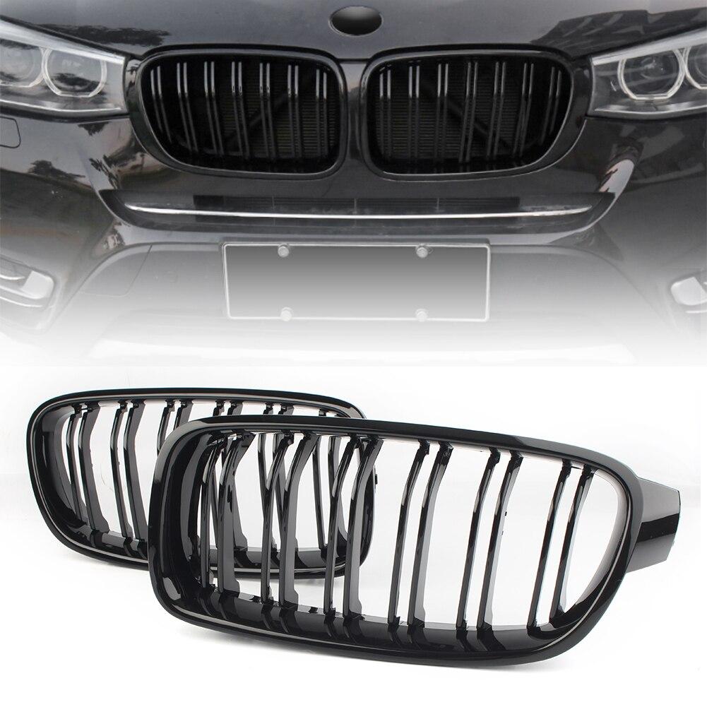 Pour BMW F30 F35 Avant Calandre Réniforme 2012 2013 2014 2 pièces ABS Noir Brillant Grilles
