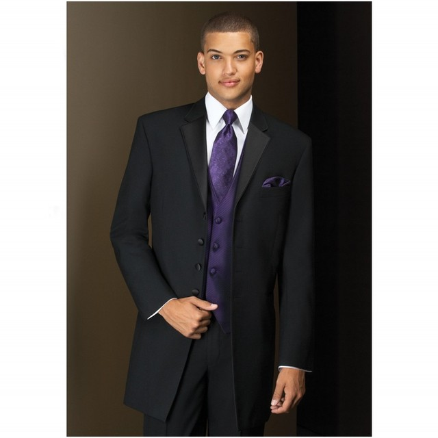 Chaqueta negro Formal , traje de hombre trajes esmoquin padrinos de boda muesca solapa boda trajes para hombre