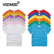 VIDMID/футболки с короткими рукавами для мальчиков и девочек детские летние хлопковые топы, одежда для футболок однотонные футболки для мальчиков и девочек, топы 7060 07