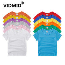 VIDMID boys girls short sleeve t-shirts clothes kids cotton summer tops t-shirts clothing boys girls solid tees tops 7060 07 cheap European and American Style Children Fits true to size take your normal size Unisex O-Neck REGULAR