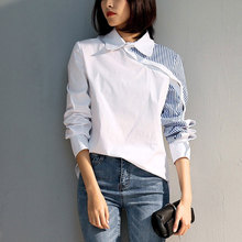 New Women's Shirt Spring 2019 Fashion Patchwork Irregular Design Blue and White Stitching Stripe Shirt Female white stripe shirt with irregular hem